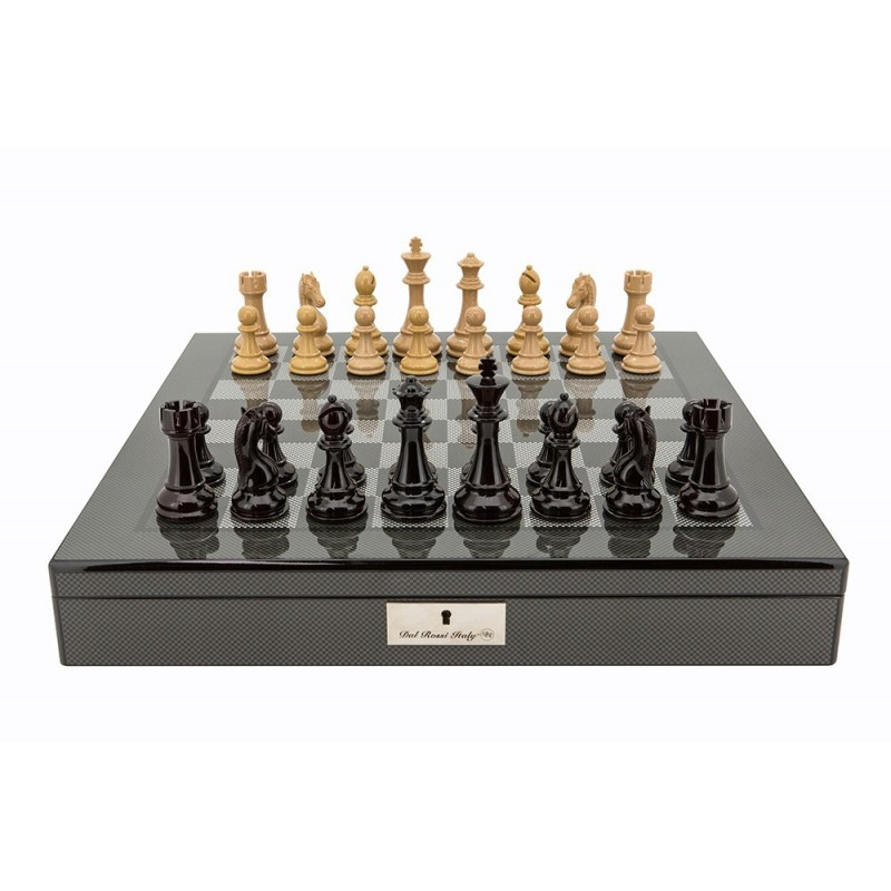 Dal Rossi Italy Dark Red And Box Wood Finish Chess Set On Carbon Fibre  Shiny Finish. Loading Zoom