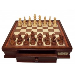 """Dal Rossi Chess Set 16"""", With Boxwood/Sheesham 85mm pieces Wood Double Weighted"""""""