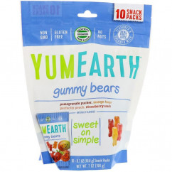 YumEarth Gummy Bears Assorted Flavors 10 Snack Packs 0.7 oz (19.8 g) Each