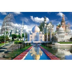 Play NOW! Jigsaw Puzzle - Pisa, Taj Mahal, Moscow. Neuschwanstein, The White House 1000 Pces