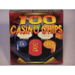Casino Chips & Accessories - Casino Chips, Plastic Box, Numbered 100 Pieces