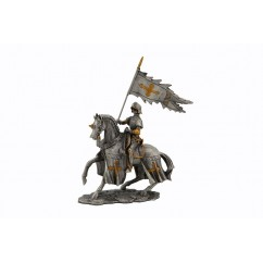 Dal Rossi Pewter MIDDLE ANCIENT KNIGHT - FLAG IN RIGHT HAND Pewter Figurines height from 110mm to 160mm