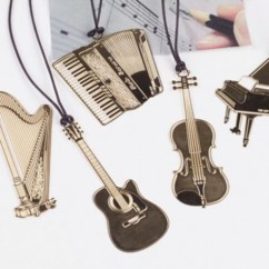1PC Gold Plated Musical Instrument Vintage Cute Bookmark Book Mark 4ht