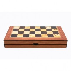 Dal Rossi Walnut Shiny Finish Folding Chess Set, 16""