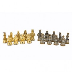 """Dal Rossi Italy Medieval Warrior Chess Set on Carbon Fibre Shiny Finish Chess Box 20"""" with compartments"""