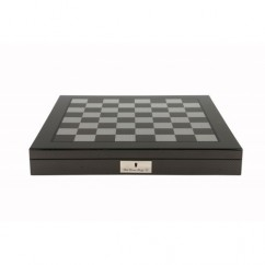 "Dal Rossi Italy Dark Red and Box wood Finish Chess Set on Carbon Fibre Shiny Finish Chess Box 20"" with compartments"